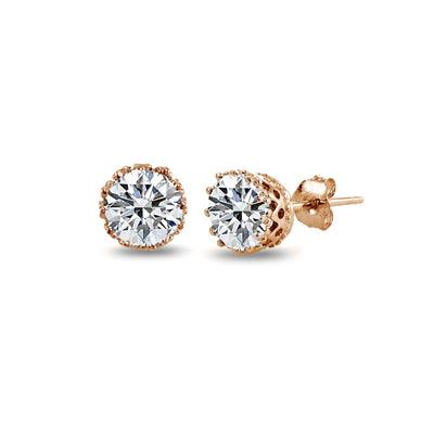 Rose Gold Flashed Sterling Silver 4.4ct Cubic Zirconia Oval and X Drop Earrings