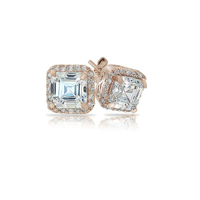 Rose Gold Flashed Sterling Silver Asscher-Cut Cubic Zirconia Stud Earrings