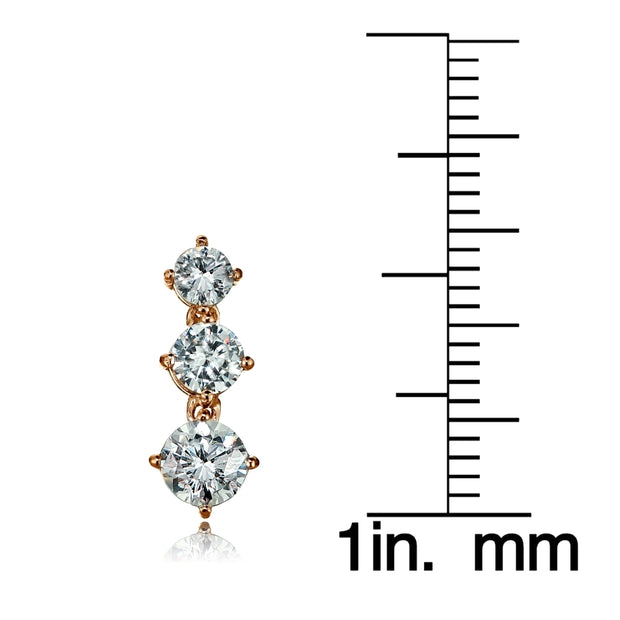 Rose Gold Tone over Sterling Silver Cubic Zirconia Double Curve Crawler Climber Hook Earrings