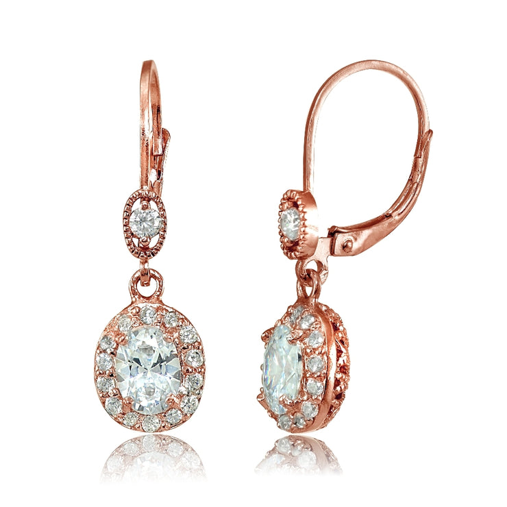 Rose Gold Flashed Sterling Silver Cubic Zirconia Oval Dangle Leverback Earrings