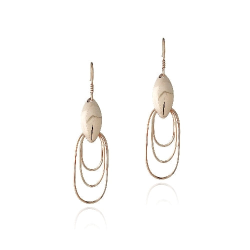 18K Rose Gold over Sterling Silver Three Oval Dangle Earrings