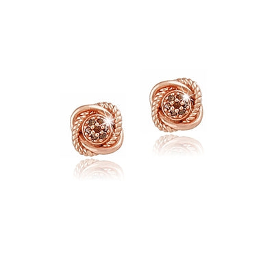 18K Rose Gold over Sterling Silver 1/7ct Red Diamond Love Knot Stud Earrings