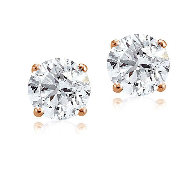 Rose Gold Tone over Sterling Silver 5.5ct Cubic Zirconia 9mm Round Stud Earrings