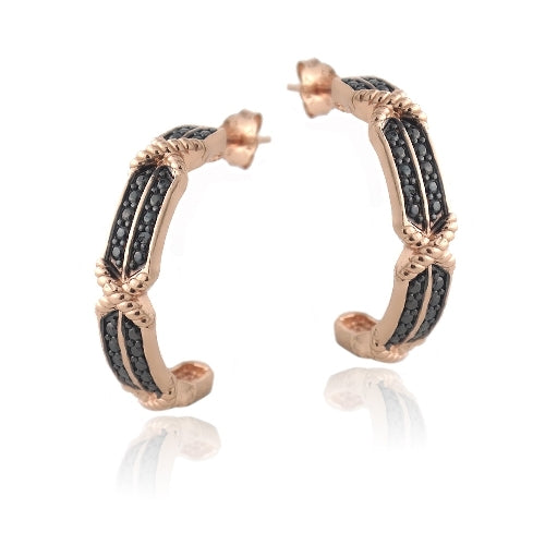 18K Rose Gold over Sterling Silver Black Diamond Accent X & Bar Half-Hoop Earrings