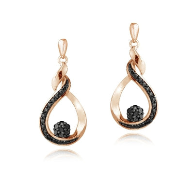 Rose Gold Tone over Sterling Silver 1/10ct Black Diamond Cluster Teardrop Dangle Earrings