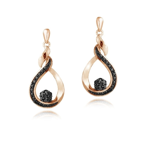 Rose Gold Tone over Sterling Silver 1/10 ct Black Diamond Cluster Teardrop Dangle Earrings