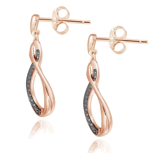 18K Rose Gold over Silver Black Diamond Accent Twisted Teardrop Dangle Earrings