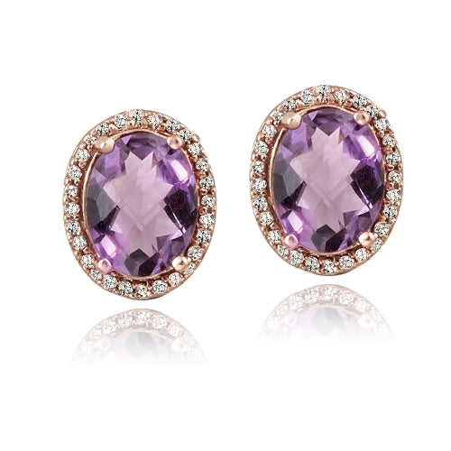 Rose Gold Tone over Silver 3.5ct Amethyst & White Topaz Oval Stud Earrings
