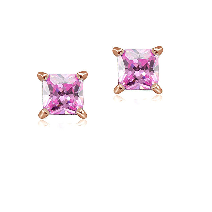 Rose Gold Tone over Sterling Silver 1/3ct Light Pink Cubic Zirconia 3mm Square Stud Earrings
