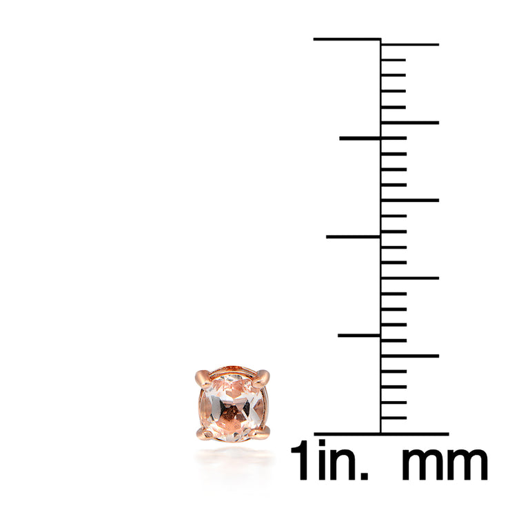 18k Rose Gold over Silver Morganite 3mm Round Stud Earrings
