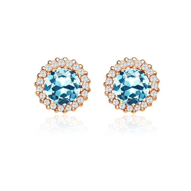 Rose Gold Flashed Sterling Silver Created Aquamarine and Cubic Zirconia Round Halo Stud Earrings