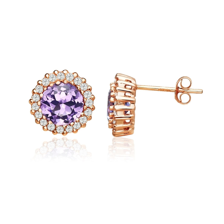 Rose Gold Flashed Sterling Silver Created Amethyst and Cubic Zirconia Round Halo Stud Earrings