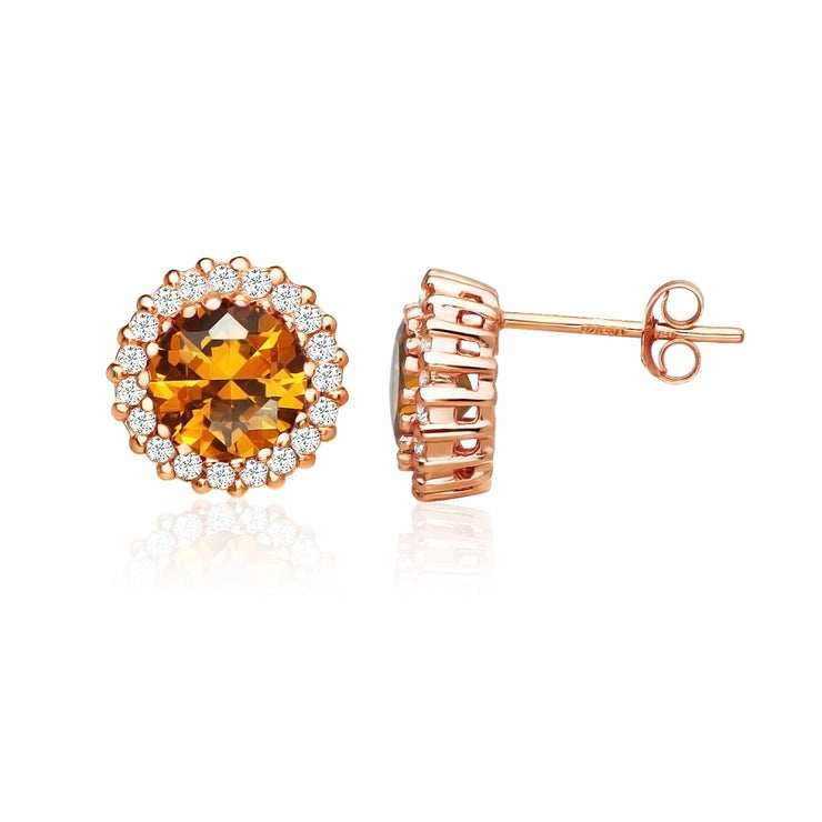 Rose Gold Flashed Sterling Silver Created Citrine and Cubic Zirconia Round Halo Stud Earrings