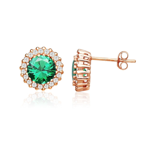 Rose Gold Flashed Sterling Silver Created Emerald and Cubic Zirconia Round Halo Stud Earrings