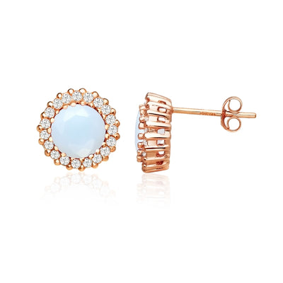 Rose Gold Flashed Sterling Silver Simulated White Opal and Cubic Zirconia Round Halo Stud Earrings