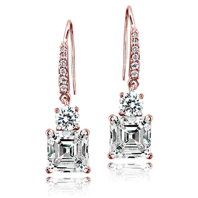 Rose Gold Flashed Sterling Silver Asscher-Cut Cubic Zirconia Dangle Earrings