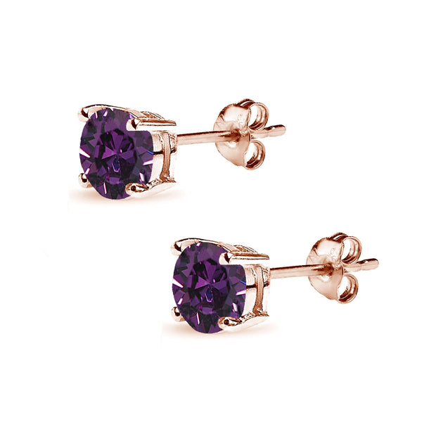 Rose Gold Flashed Sterling Silver 6mm Purple Round Solitaire Stud Earrings Made with Swarovski Crystals