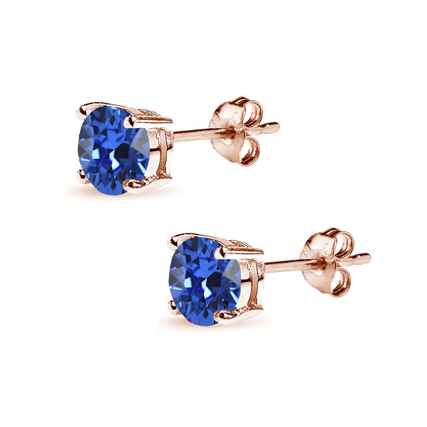 Rose Gold Flashed Sterling Silver 6mm Royal Blue Round Solitaire Stud Earrings Made with Swarovski Crystals