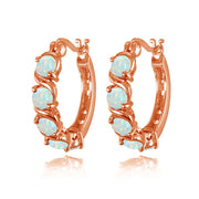 Rose Gold Tone over Sterling Silver White Opal S Design Round Hoop Earrings