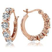 Rose Gold Tone over Sterling Silver Cubic Zirconia S Design Hoop Earrings