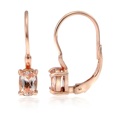 18k Rose Gold over Silver 0.60ct Morganite Oval Leverback Earrings