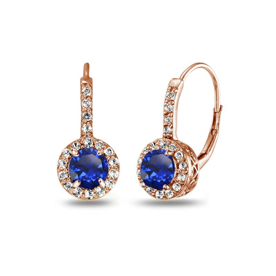 Rose Gold Flashed Sterling Silver Created Blue Sapphire & White Topaz Round Dainty Halo Leverback Earrings