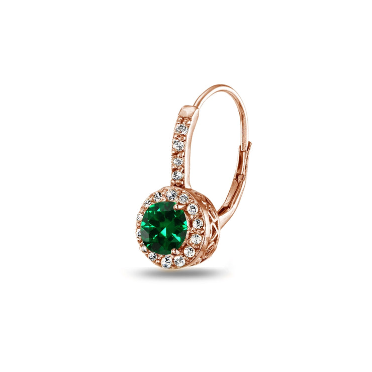 Rose Gold Flashed Sterling Silver Created Emerald & White Topaz Round Dainty Halo Leverback Earrings