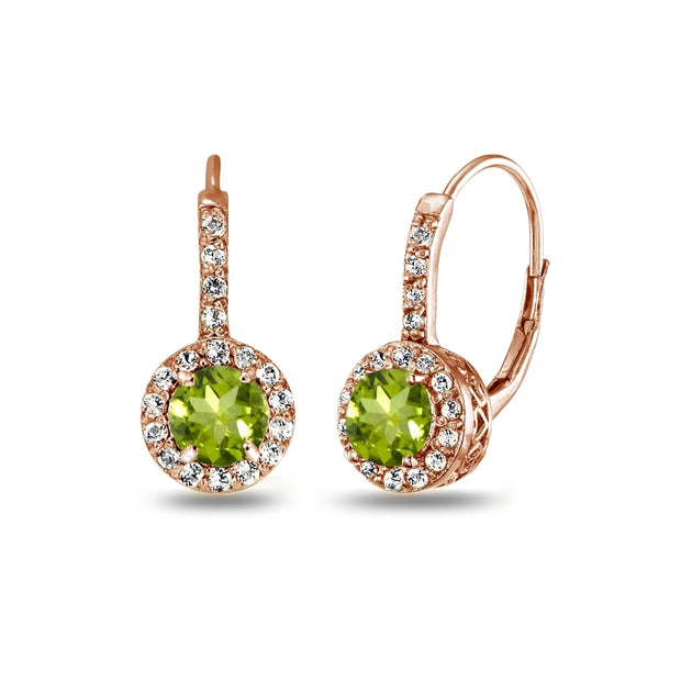 Rose Gold Flashed Sterling Silver Peridot & White Topaz Round Dainty Halo Leverback Earrings