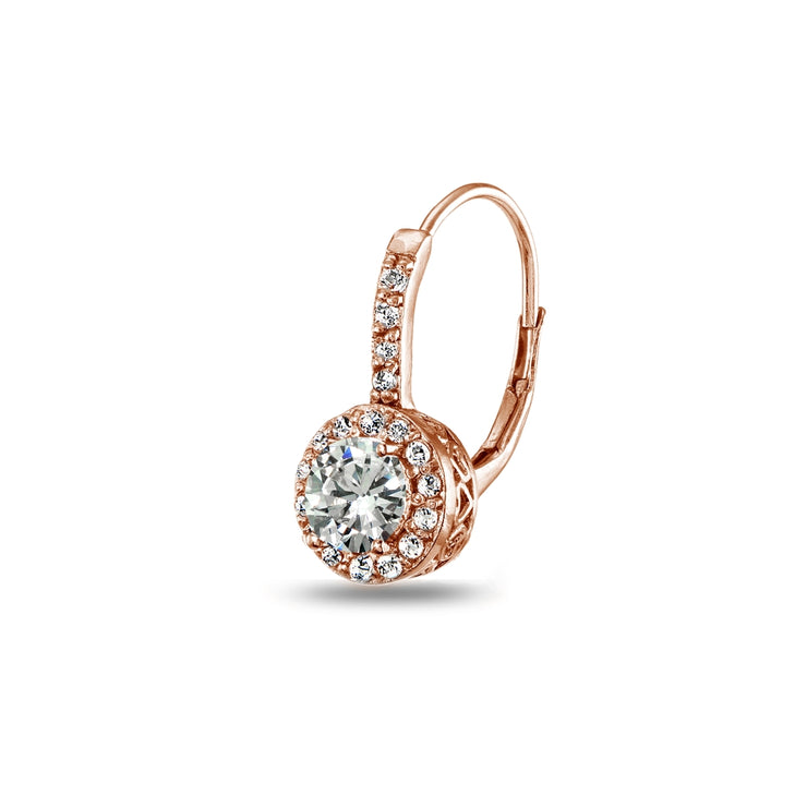Rose Gold Flashed Sterling Silver Cubic Zirconia Round Dainty Halo Leverback Earrings