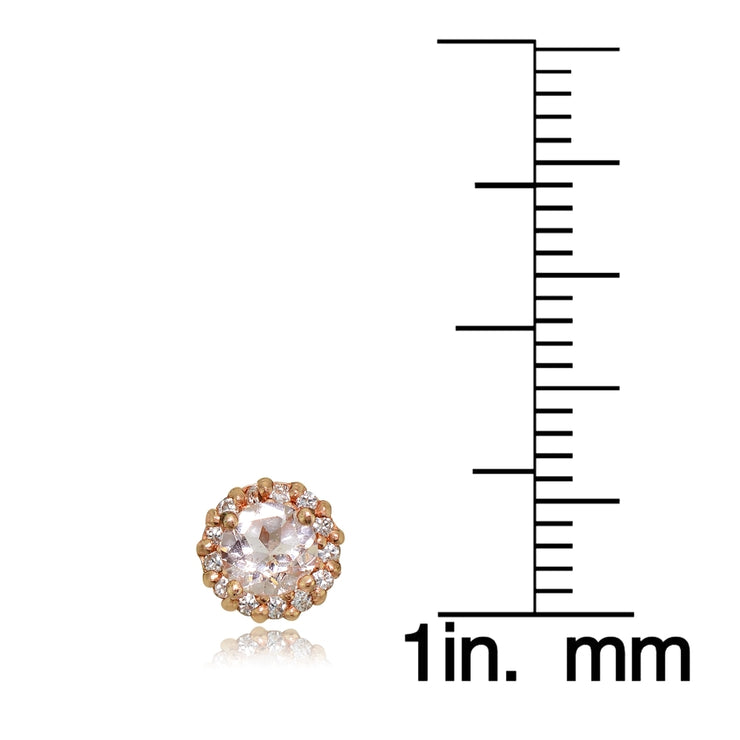 Rose Gold Tone over Sterling Silver Created Morganite 4mm Halo Stud Earrings