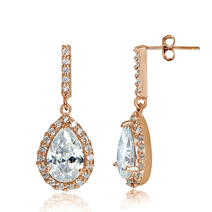 Rose Gold Flashed Sterling Silver Cubic Zirconia Teardrop Dangle Earrings