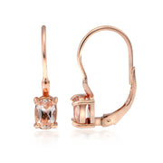 18K Rose Gold over Sterling Silver Morganite Oval Leverback Earrings