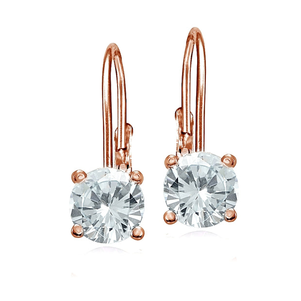 Rose Gold Flashed Sterling Silver Aquamarine 6mm Round Leverback Earrings