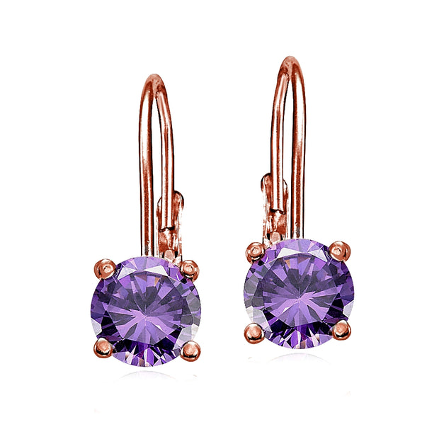 Rose Gold Flashed Sterling Silver Amethyst 6mm Round Leverback Earrings