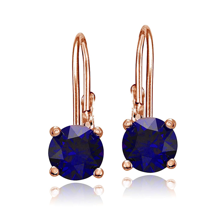 Rose Gold Flashed Sterling Silver Created Blue Sapphire Leverback Earrings