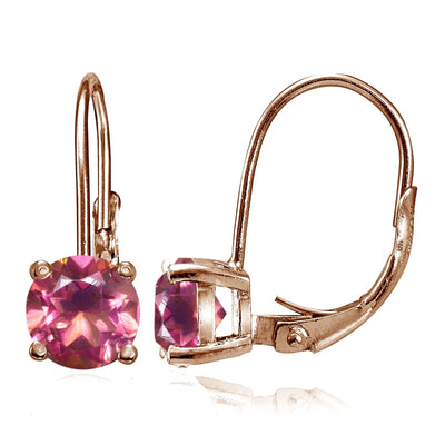 Rose Gold Flashed Sterling Silver Pink Topaz 6mm Round Leverback Earrings