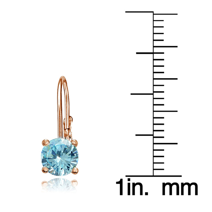 Rose Gold Flashed Sterling Silver Blue Topaz 6mm Round Leverback Earrings