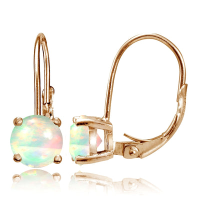 Rose Gold Tone over Sterling Silver 1.1 ct Ethiopian Opal 6mm Round Leverback Earrings