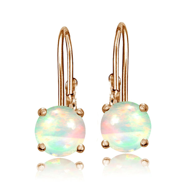 Rose Gold Tone over Sterling Silver 1.1ct Ethiopian Opal 6mm Round Leverback Earrings