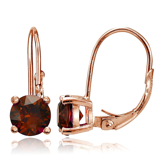 Rose Gold Flashed Sterling Silver Garnet 6mm Round Leverback Earrings