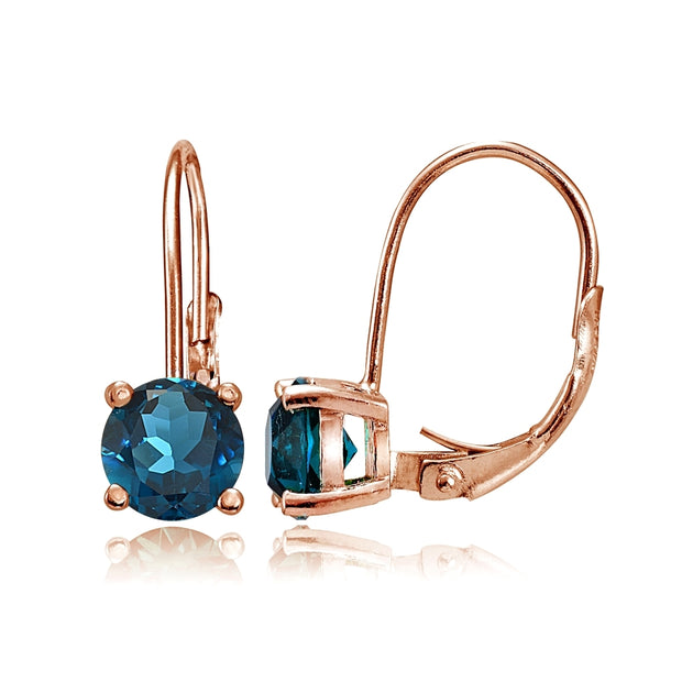 Rose Gold Flashed Sterling Silver London Blue Topaz 6mm Round Leverback Earrings