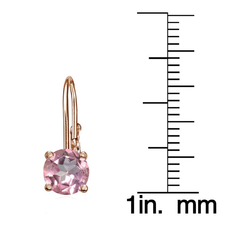 Rose Gold Flashed Sterling Silver Light Pink Topaz 6mm Round Leverback Earrings
