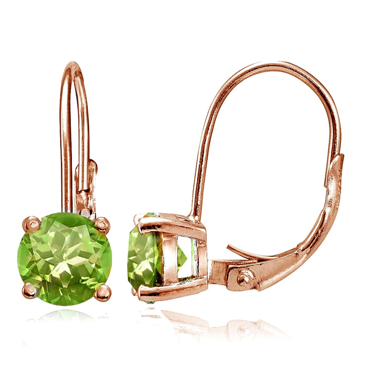 Rose Gold Flashed Sterling Silver Peridot Leverback Earrings