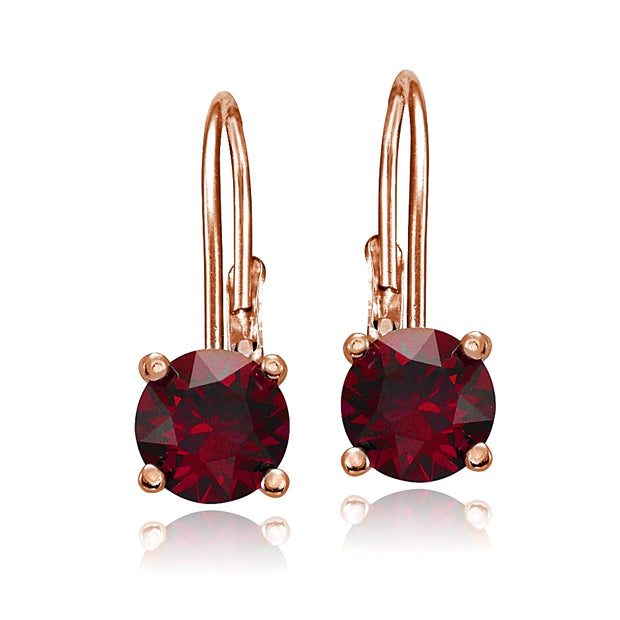 Rose Gold Flashed Sterling Silver Created Ruby Leverback Earrings
