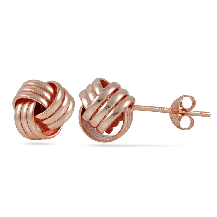 Rose Gold Tone over Sterling Silver Plolished Love Knot Stud Earrings