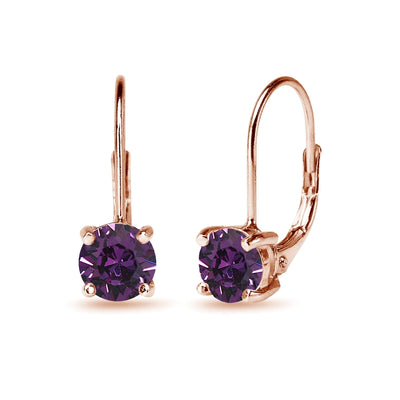 Rose Golden Shadow Plated Sterling Silver Purple Round-cut Leverback Earrings Made with Swarovski Crystals
