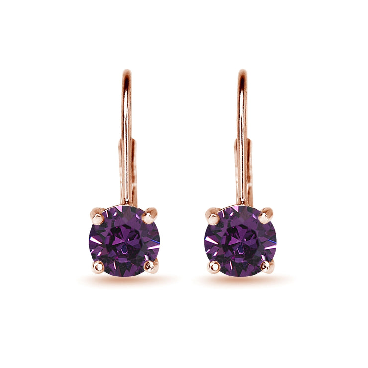Rose Golden Shadow Flashed Sterling Silver Purple Round-cut Leverback Earrings Made with Swarovski Crystals