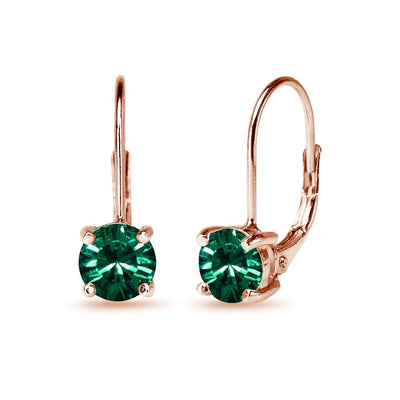 Rose Golden Shadow Flashed Sterling Silver Green Round-cut Leverback Earrings Made with Swarovski Crystals