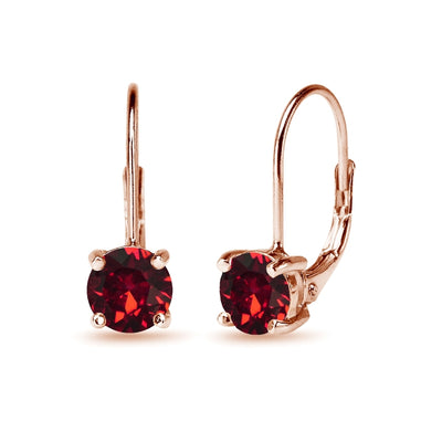 Rose Golden Shadow Flashed Sterling Silver Red Round-cut Leverback Earrings Made with Swarovski Crystals