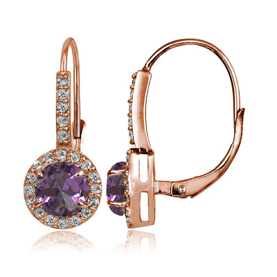 Rose Gold Flashed Sterling Siver Simulated Alexandrite and Cubic Zirconia Accents Round Leverback Earrings